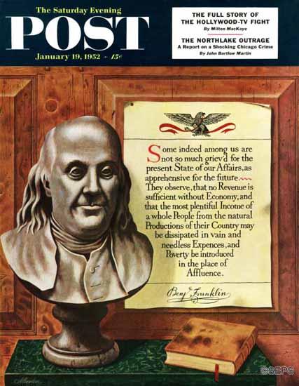 John Atherton Saturday Evening Post Benjamin Franklin Quote 1952_01_19 | The Saturday Evening Post Graphic Art Covers 1931-1969