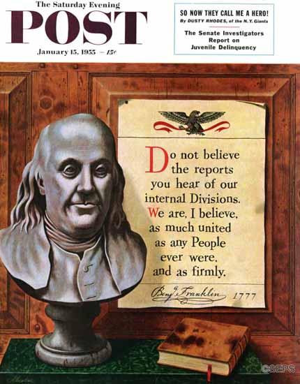 John Atherton Saturday Evening Post Benjamin Franklin Quote 1955_01_15   The Saturday Evening Post Graphic Art Covers 1931-1969