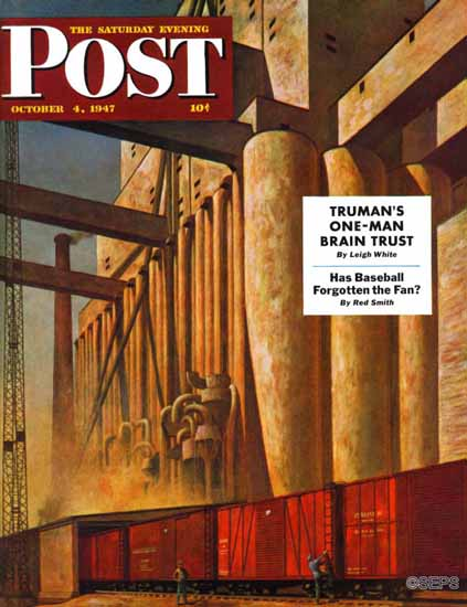 John Atherton Saturday Evening Post Boxcars Grain Elevators 1947_10_04 | The Saturday Evening Post Graphic Art Covers 1931-1969