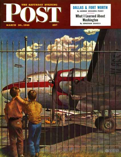 John Atherton Saturday Evening Post Boys at Airport 1946_03_30 | The Saturday Evening Post Graphic Art Covers 1931-1969