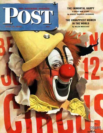 John Atherton Saturday Evening Post Circus Clown and Poster 1944_07_08 | The Saturday Evening Post Graphic Art Covers 1931-1969
