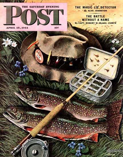 John Atherton Saturday Evening Post Fishing Still Life 1944_04_15 | The Saturday Evening Post Graphic Art Covers 1931-1969