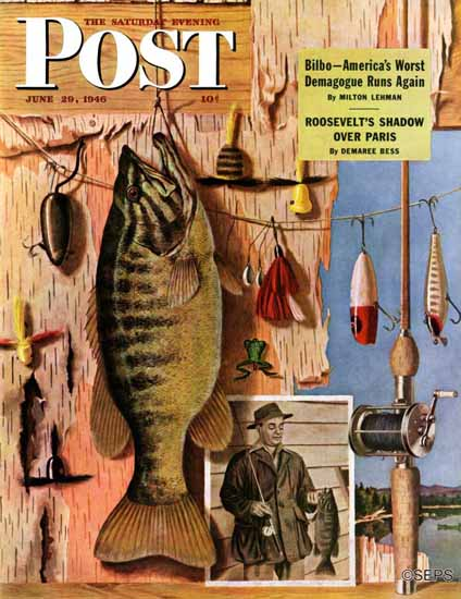 John Atherton Saturday Evening Post Fishing Still Life 1946_06_29 | The Saturday Evening Post Graphic Art Covers 1931-1969