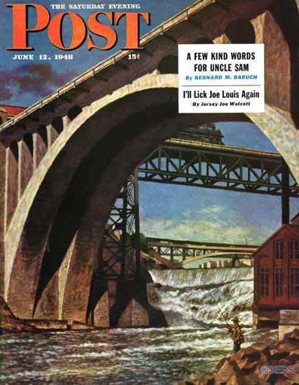 John Atherton Saturday Evening Post Fishing Under Bridge 1948_06_12   The Saturday Evening Post Graphic Art Covers 1931-1969