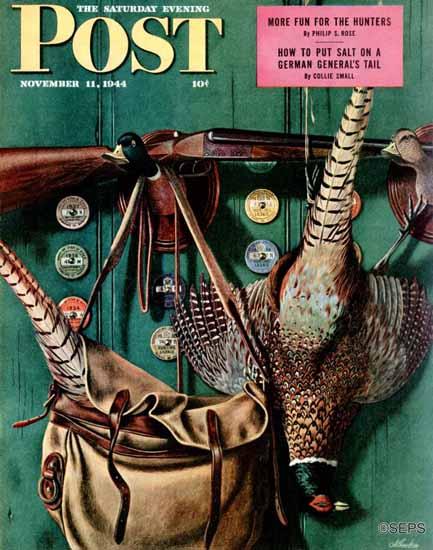 John Atherton Saturday Evening Post Hunting Still Life 1944_11_11 | The Saturday Evening Post Graphic Art Covers 1931-1969