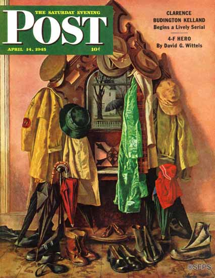John Atherton Saturday Evening Post Loaded Coat Rack 1945_04_14 | The Saturday Evening Post Graphic Art Covers 1931-1969