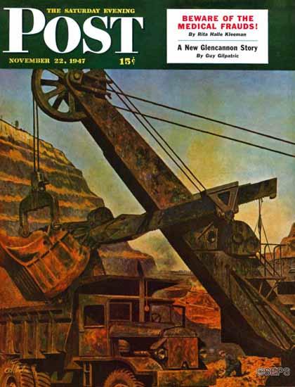 John Atherton Saturday Evening Post Mining for Ore 1947_11_22   The Saturday Evening Post Graphic Art Covers 1931-1969