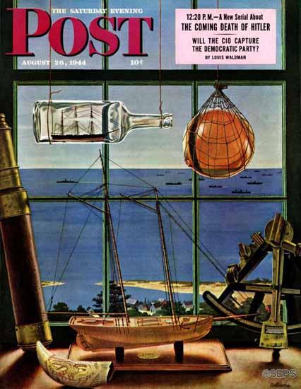 John Atherton Saturday Evening Post Naval Convoy 1944_08_26 | The Saturday Evening Post Graphic Art Covers 1931-1969