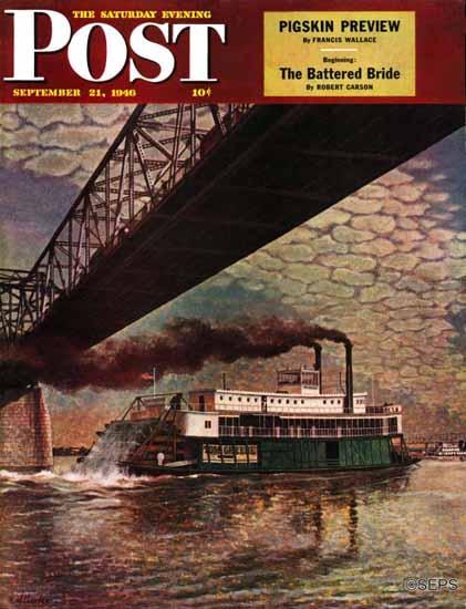 John Atherton Saturday Evening Post Paddlewheeler Ohio 1946_09_21 | The Saturday Evening Post Graphic Art Covers 1931-1969