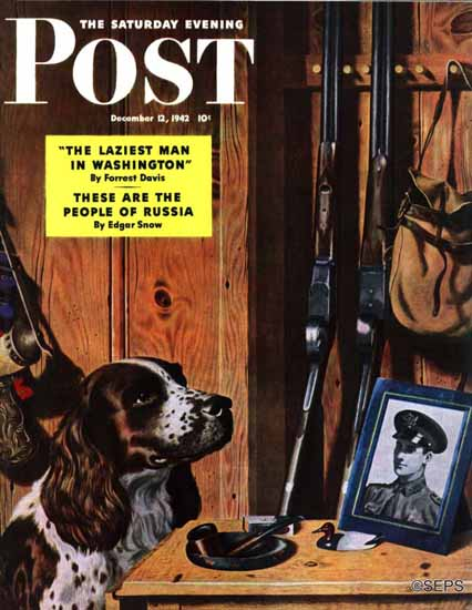 John Atherton Saturday Evening Post Patient Dog 1942_12_12 | The Saturday Evening Post Graphic Art Covers 1931-1969
