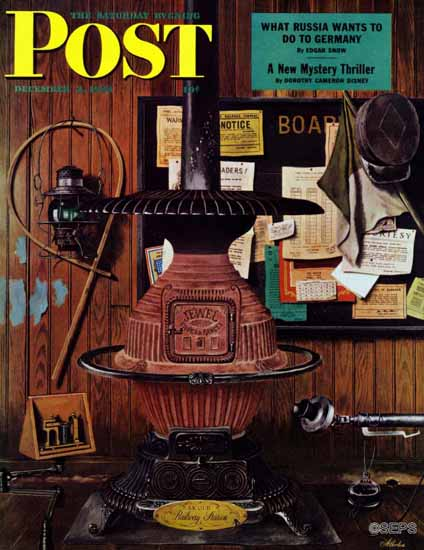 John Atherton Saturday Evening Post Railway Station Still Life 1944_12_02 | The Saturday Evening Post Graphic Art Covers 1931-1969