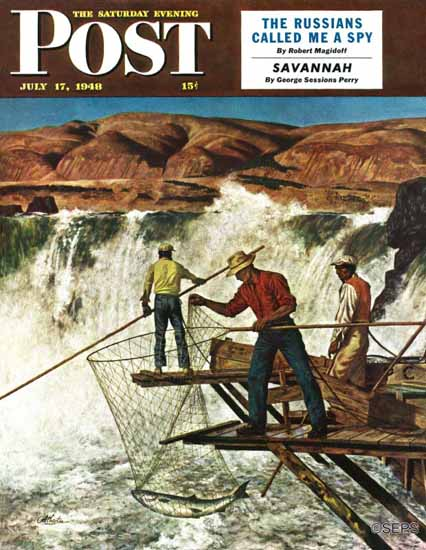 John Atherton Saturday Evening Post Salmon Fishing 1948_07_17 | The Saturday Evening Post Graphic Art Covers 1931-1969