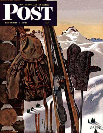 John Atherton Saturday Evening Post Ski Equipment Still Life 1945_02_03   The Saturday Evening Post Graphic Art Covers 1931-1969