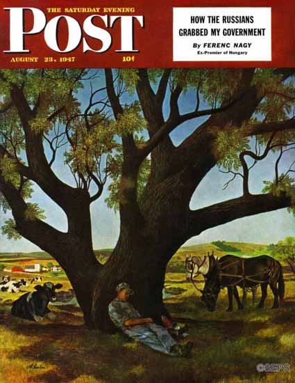 John Atherton Saturday Evening Post Sleeping Farmer 1947_08_23 | The Saturday Evening Post Graphic Art Covers 1931-1969