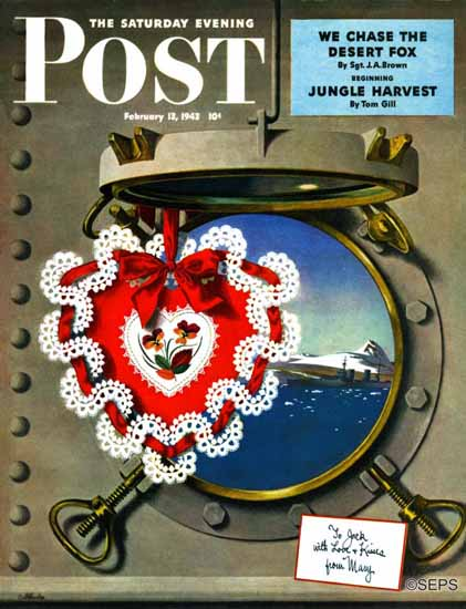 John Atherton Saturday Evening Post Valentines Day at Sea 1943_02_13 | The Saturday Evening Post Graphic Art Covers 1931-1969