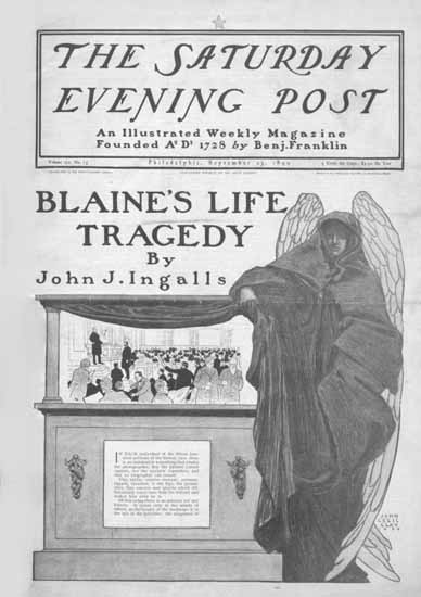 John Cecil Clay Saturday Evening Post Blaines Life Tragedy 1899_09_23 | The Saturday Evening Post Graphic Art Covers 1892-1930