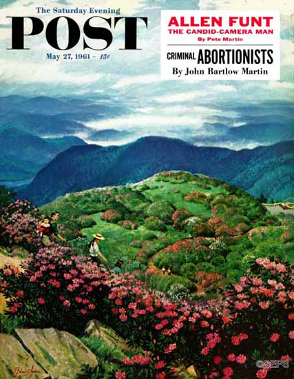 John Clymer Saturday Evening Post Appalach Rhododendrons 1961_05_27 | The Saturday Evening Post Graphic Art Covers 1931-1969