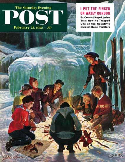 John Clymer Saturday Evening Post Apres Ski Bonfire 1952_02_23   The Saturday Evening Post Graphic Art Covers 1931-1969