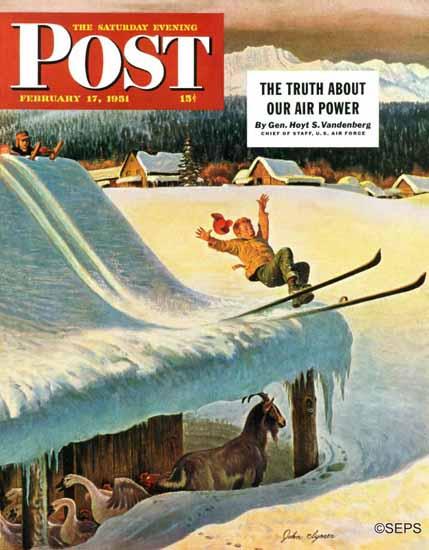 John Clymer Saturday Evening Post Barn Skiing 1951_02_17   The Saturday Evening Post Graphic Art Covers 1931-1969