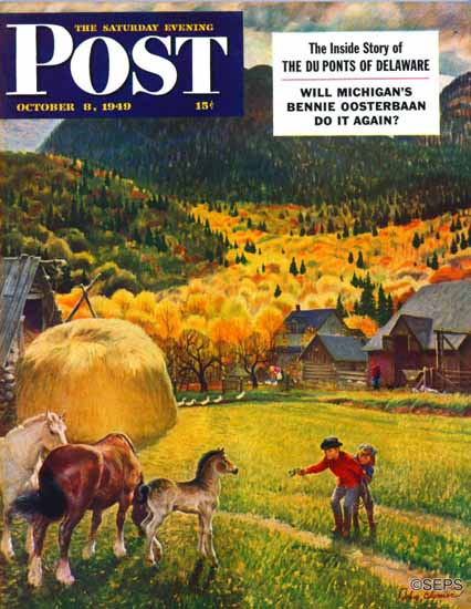 John Clymer Saturday Evening Post Belgian Horse Farm 1949_10_08 | The Saturday Evening Post Graphic Art Covers 1931-1969