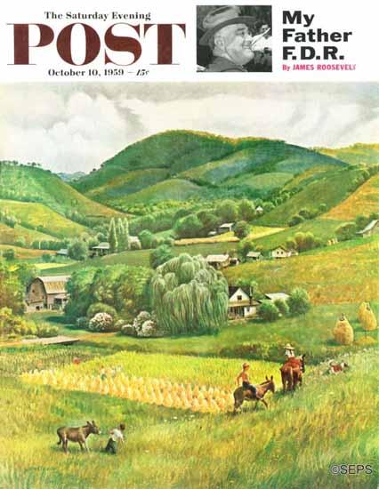 John Clymer Saturday Evening Post Blue Ridge Burro Ride 1959_10_10 | The Saturday Evening Post Graphic Art Covers 1931-1969