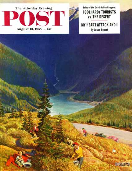 John Clymer Saturday Evening Post Blueberry Hill 1955_08_13 | The Saturday Evening Post Graphic Art Covers 1931-1969