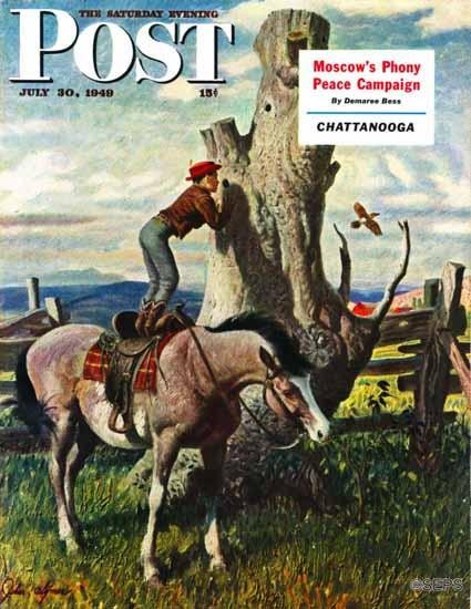 John Clymer Saturday Evening Post Boy on Horse 1949_07_30 | The Saturday Evening Post Graphic Art Covers 1931-1969