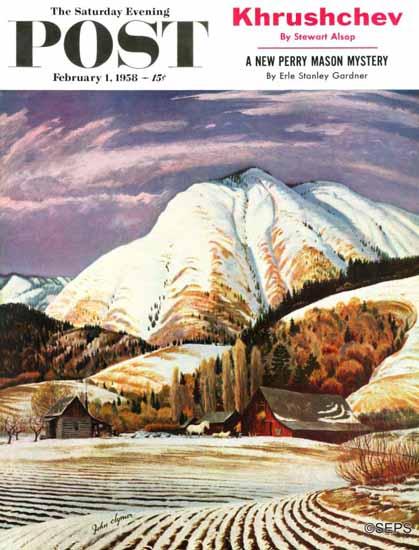 John Clymer Saturday Evening Post Cascade Mountain Farm 1958_02_01 | The Saturday Evening Post Graphic Art Covers 1931-1969