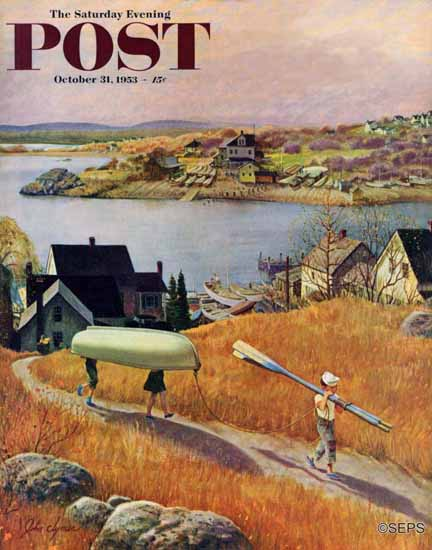John Clymer Saturday Evening Post Children with Rowboat 1953_10_31 | The Saturday Evening Post Graphic Art Covers 1931-1969