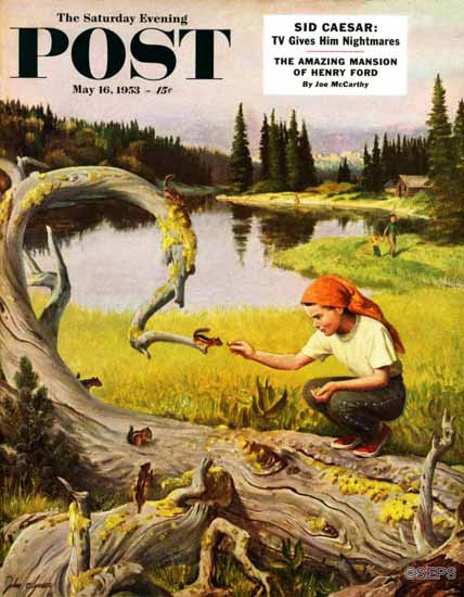 John Clymer Saturday Evening Post Feeding Chipmunks 1953_05_16 | The Saturday Evening Post Graphic Art Covers 1931-1969