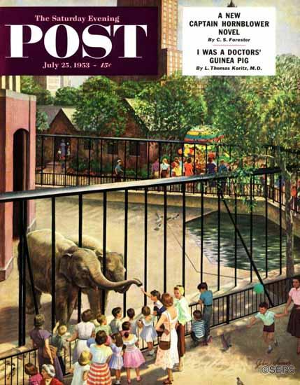 John Clymer Saturday Evening Post Feeding the Elephants 1953_07_25   The Saturday Evening Post Graphic Art Covers 1931-1969