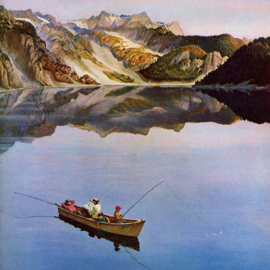 John Clymer Saturday Evening Post Fishing 1955_07_16 Copyright crop | Best of Vintage Cover Art 1900-1970