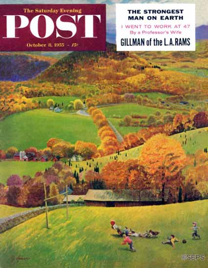 John Clymer Saturday Evening Post Football in the Country 1955_10_08 | The Saturday Evening Post Graphic Art Covers 1931-1969