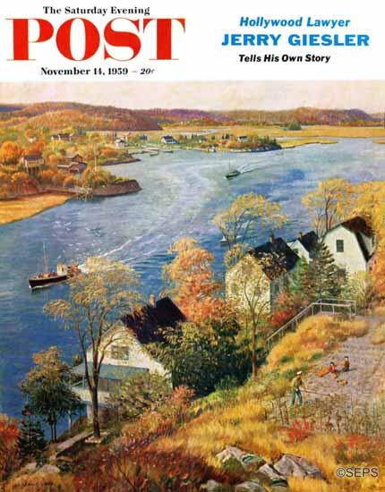 John Clymer Saturday Evening Post Gloucester Harbor 1959_11_14 | The Saturday Evening Post Graphic Art Covers 1931-1969