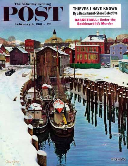 John Clymer Saturday Evening Post Gloucester Harbor Winter 1961_02_04 | The Saturday Evening Post Graphic Art Covers 1931-1969