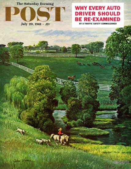 John Clymer Saturday Evening Post Green Kentucky Pastures 1961_07_29 | The Saturday Evening Post Graphic Art Covers 1931-1969