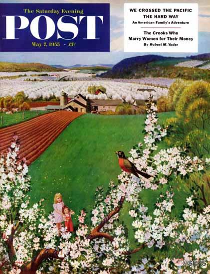 John Clymer Saturday Evening Post Harbinger of Spring 1955_05_07 | The Saturday Evening Post Graphic Art Covers 1931-1969