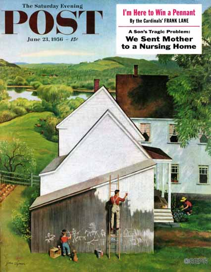 John Clymer Saturday Evening Post Helping Dad Paint 1956_06_23 | The Saturday Evening Post Graphic Art Covers 1931-1969
