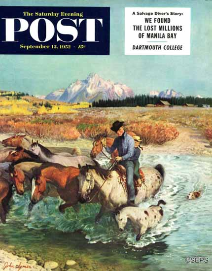 John Clymer Saturday Evening Post Herding Horses 1952_09_13 | The Saturday Evening Post Graphic Art Covers 1931-1969