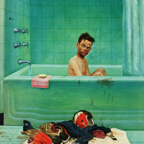 John Clymer Saturday Evening Post In the Tub 1952_11_15 Copyright crop | Best of Vintage Cover Art 1900-1970