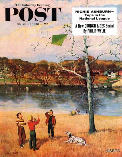 John Clymer Saturday Evening Post Kite in the Tree 1956_03_10   The Saturday Evening Post Graphic Art Covers 1931-1969