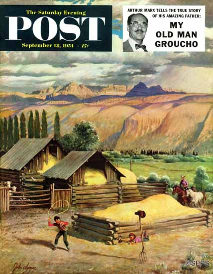 John Clymer Saturday Evening Post Lasso Practice 1954_09_18 | The Saturday Evening Post Graphic Art Covers 1931-1969