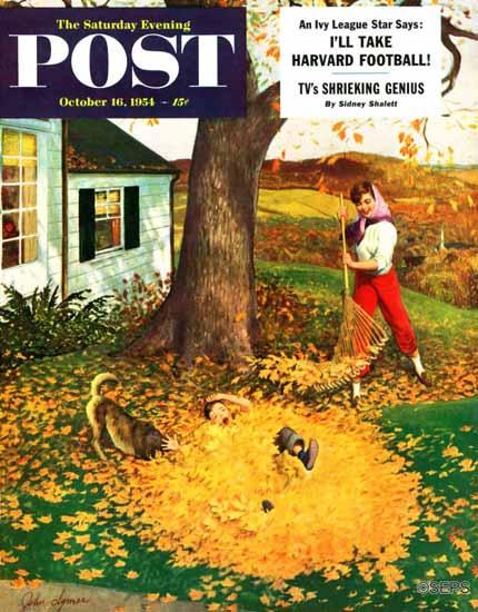 John Clymer Saturday Evening Post Leaf Pile 1954_10_16   The Saturday Evening Post Graphic Art Covers 1931-1969