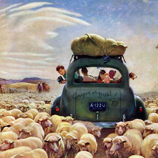 John Clymer Saturday Evening Post Oregon 1951_08_04 Copyright crop | Best of Vintage Cover Art 1900-1970