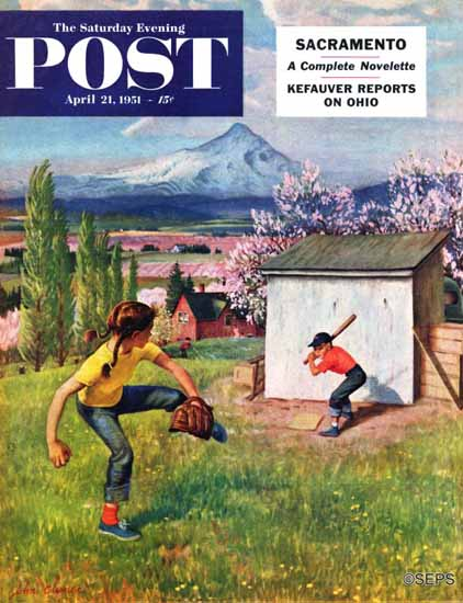 John Clymer Saturday Evening Post Oregon Baseball 1951_04_21 | The Saturday Evening Post Graphic Art Covers 1931-1969