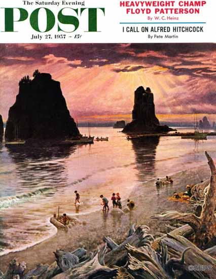 John Clymer Saturday Evening Post Pacific Ocean Sunset 1957_07_27 | The Saturday Evening Post Graphic Art Covers 1931-1969