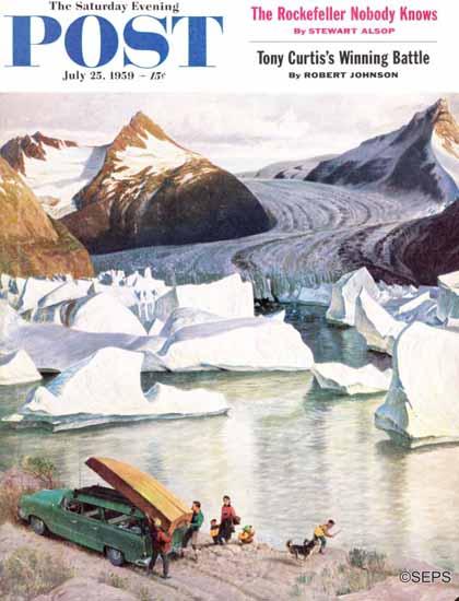 John Clymer Saturday Evening Post Portage Glacier 1959_07_25 | The Saturday Evening Post Graphic Art Covers 1931-1969