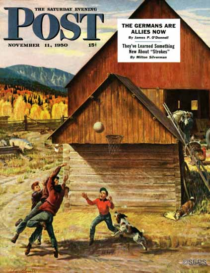 John Clymer Saturday Evening Post Ranch Basketball 1950_11_11 | The Saturday Evening Post Graphic Art Covers 1931-1969