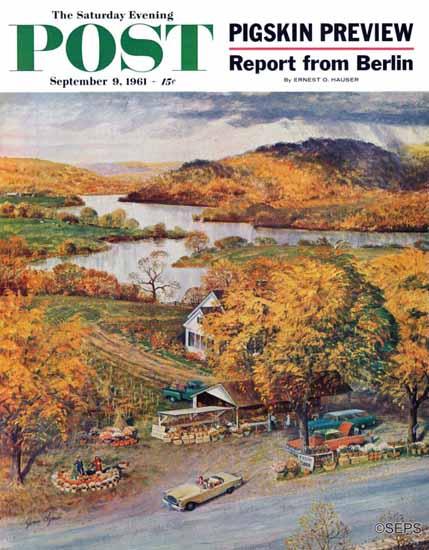 John Clymer Saturday Evening Post Roadside Vegetable Stand 1961_09_09 | The Saturday Evening Post Graphic Art Covers 1931-1969