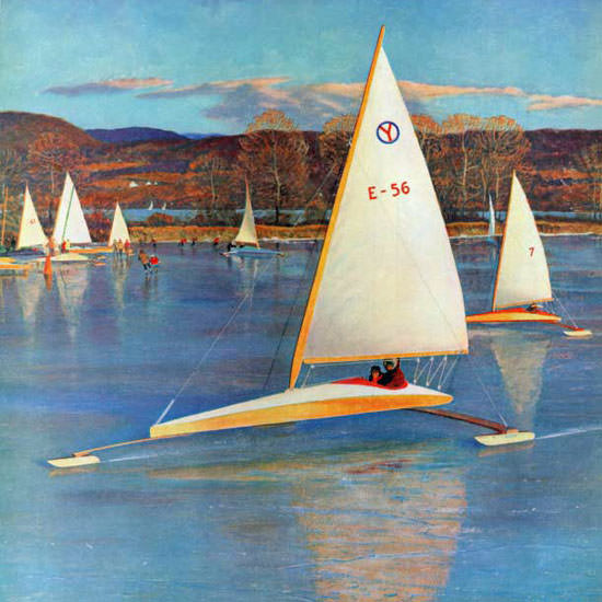 John Clymer Saturday Evening Post Sailboats 1959_11_28 Copyright crop | Best of Vintage Cover Art 1900-1970